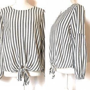 Blue Rair peasant blouse, Sz medium, striped
